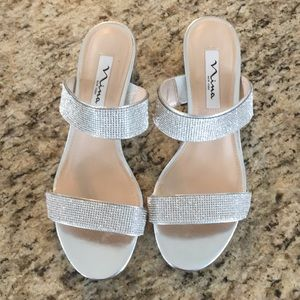 Nina Silver Rhinestone 8M Dress Sandals Wedding